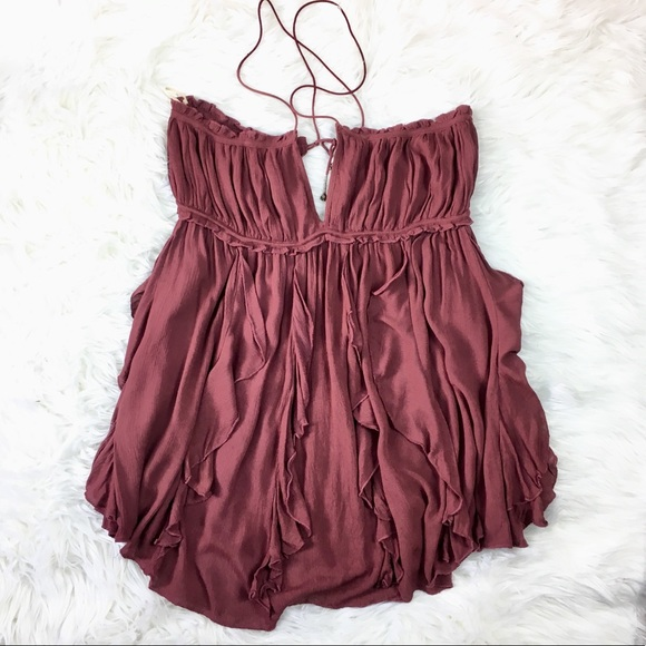 Free People Tops - FREE PEOPLE RUFFLE TOP SZ MED MAUVE